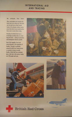 Set of five large laminated posters illustrating the work of the BRC: International Aid and Tracing
