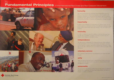 large colour poster illustrating The Fundamental Principles of the International Red Cross and Red Crescent Movement