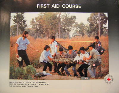 One of a set of four colour ICRC posters: 'First Aid Course. Simple gestures to save a life. By teaching first aid gestures to be given to the wounded, the Red Cross helps to saves lives.'