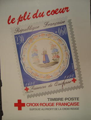 Poster produced by the French Red Cross: 'le pli du coeur'. Timbre-Poste Croix-Rouge Francaise. Surtaxe au Profit de la Croix-Rouge.