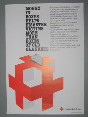 poster appealing for funds: Money in Boxes helps disaster victims more than boxes of old blankets.
