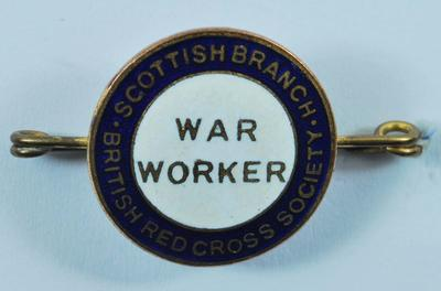 Scottish Branch British Red Cross War Worker badge
