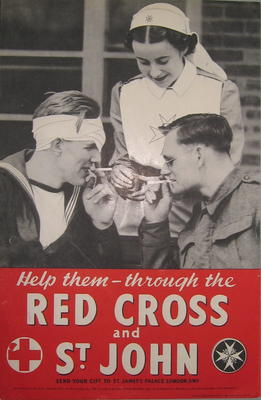 Small poster showing a St John Ambulance VAD lighting cigarettes for a soldier and sailor: 'Help them - through the Red Cross & St John.'