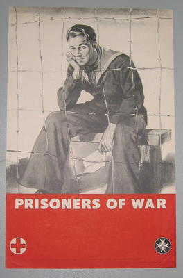 Small poster showing a (sailor) prisoner of war: 'Prisoners of war. Need your help. Send a donation to the Red Cross & St John'.