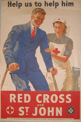Poster showing a wounded serviceman being helped by a British Red Cross VAD; Printed Docs (museum)/poster; 2355/130