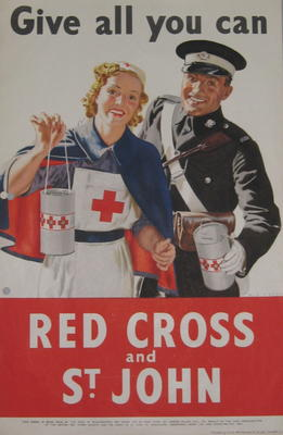 Small colour poster showing a female BRC VAD and male St John Ambulance member holding collecting boxes: 'Give all you can. Red Cross and St. John.'