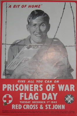 Small tinted poster showing a prisoner of war holding a food parcel: 'A Bit of Home. Give all you can on Prisoner of War Flag Day. Red Cross & St John.'