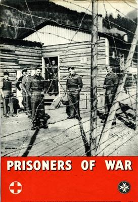 Small poster featuring a black and white photograph of POWs behind a barbed wire fence at camp 'Stalag XIIIA' with the text: 'Prisoners Of War need your help. Send donations to the Red Cross & St John'.