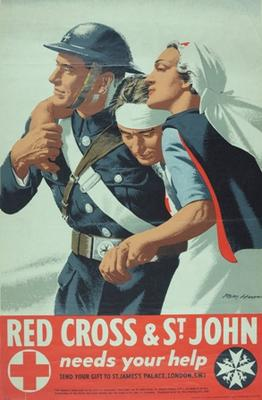 Poster appealing for funds featuring a wounded serviceman being supported by a male St John Ambulance and a female British Red Cross VAD