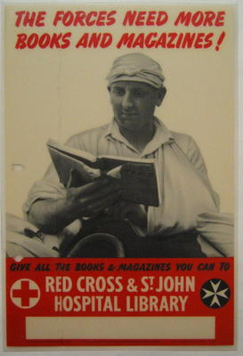 poster appealing on behalf of the Red Cross & St John Hospital Library