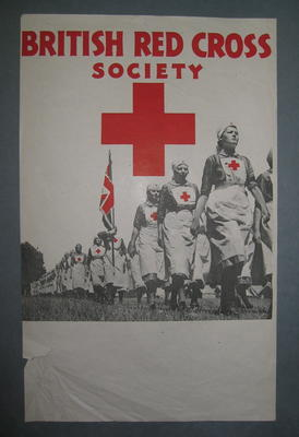 Small poster featuring a group of VADs marching: 'British Red Cross Society.'
