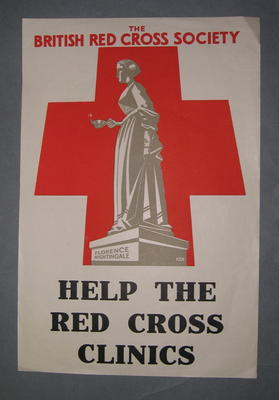 Small poster advertising Red Cross Clinics