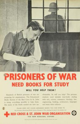 Small poster with black and white image of a man studying and a a guard outside. 'Prisoners of War Need Books for Study. Will You Help Them?'
