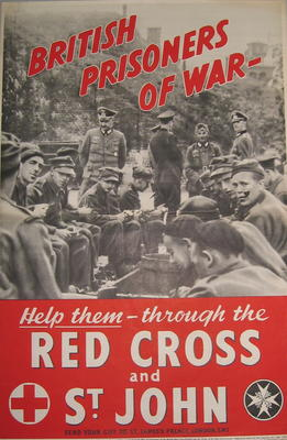'British Prisoners Of War - Help them through the Red Cross and St John'.