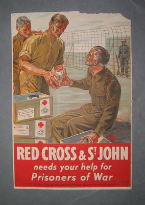 Small colour poster showing prisoners of war receiving food parcels: Red Cross & St John needs your help for Prisoners of War. Artist Charles Wood.