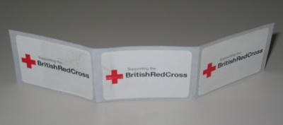 Three stickers: 'Supporting the British Red Cross' used during Red Cross Week 2005.