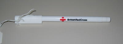 black ink pen: 'British Red Cross' with website address