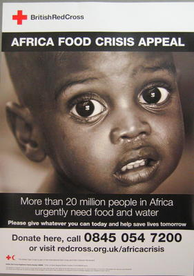 Poster produced for the Africa Food Crisis Appeal which was launched in March 2006.