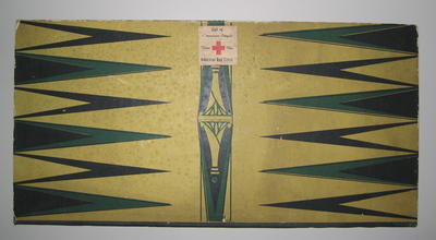 Cardboard games board (double-sided) with sticker 'Gift of the American People Thru Red Cross'. Made in U.S.A.