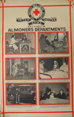 One of a set of large posters illustrating the services of the British Red Cross: British Red Cross Help in Almoners Department.