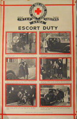 One of a set of large posters illustrating the services of the British Red Cross: Escort Duty.