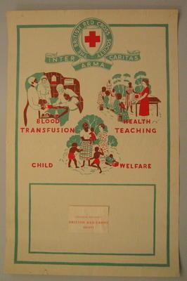 poster: 'Uganda Branch British Red Cross: Blood Transfusion, Health Teaching, Child Welfare'.