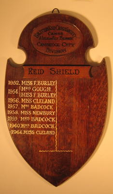 wooden shield: Reid Shield. British Red Cross Society Cambs & Isle of Ely Branch Cambridge City Division
