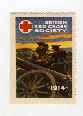 Small stamp (not for official use): showing two men wearing brassards with a wounded man on a battlefield. British Red Cross Society 1914.