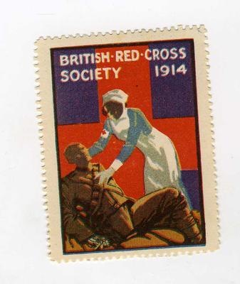 British Red Cross Society stamp,'VAD and wounded soldier,' 1914.; Communication/postage stamp; 2388/2