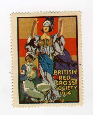 Small stamp (not for official use): showing a British Red Cross VAD kneeling in front of Britannia: British Red Cross Society 1914.