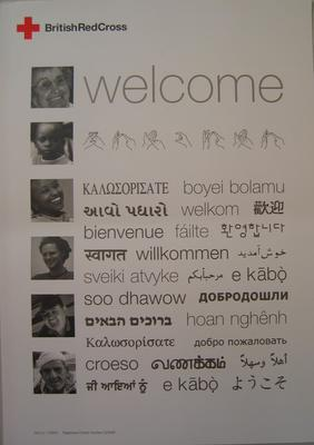 Poster: Welcome (in different languages).