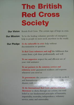 Small poster: The British Red Cross Society. Our Vision. Our Mission. Our Pledge.