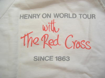 Jumper printed 'Henry on World Tour with The Red Cross since 1863'