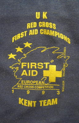 jumper printed with 'UK Red Cross First Aid Champions. First Aid European Red Cross Competition 1993 Kent Team'
