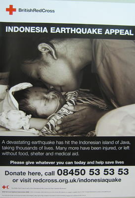 poster advertising the Indonesia Earthquake Appeal 2006