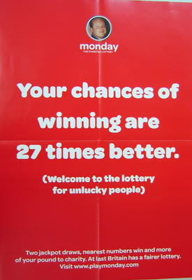 Poster advertising the Play Monday lottery.