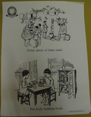Junior Red Cross poster used by Overseas Branches: Drink Plenty of Clean Water