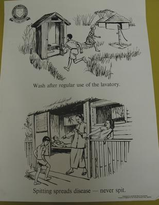 Junior Red Cross poster used by Overseas Branches: Wash Hands After Use of Lavatory