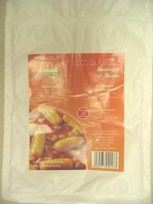 Padded packaging for self-heating meal: Action Pack Sausages & Beans. Hot Pack Self-Heating Nutritious Meals. Ready in 12 minutes.