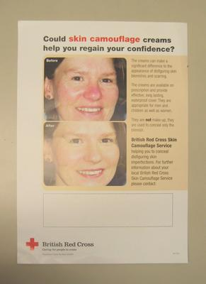 Poster advertising the skin camouflage service