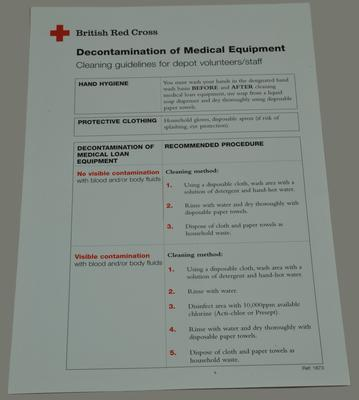 small poster, a guide to the decontamination of medical equipment, cleaning guidelines for depot volunteers/staff