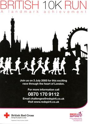 poster advertising the British 10K Run, 2005