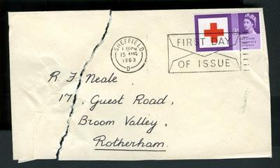 First day cover of Red Cross Centenary Congress stamp, posted Sheffield 15 August 1963.
