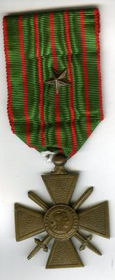 Croix de Guerre medal, with bronze star to denote Brigade, Regimental or similar Unit Despatch