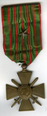Croix de Guerre medal, with bronze star to denote Brigade, Regimental or similar Unit Despatch