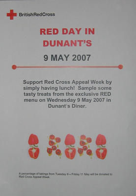 small poster advertising a special menu in the canteen at UK Office during Red Cross Appeal Week, 2007