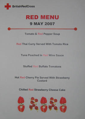 Small poster/menu for Dunant's Diner at UK Office: 'Menu 9 May 2007'