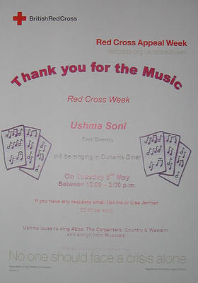 Small poster for a fundraising singing event. Ushmas Soni, Assistant Diversity Officer, will sing requests for £2.50 per song on Tuesday 8th May, in Dunant's Diner.