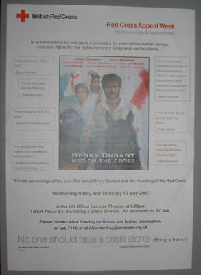 poster to advertise screenings of the film Henry Dunant Red on the Cross