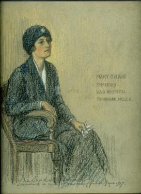 Drawing of Mary Craig in outdoor uniform.